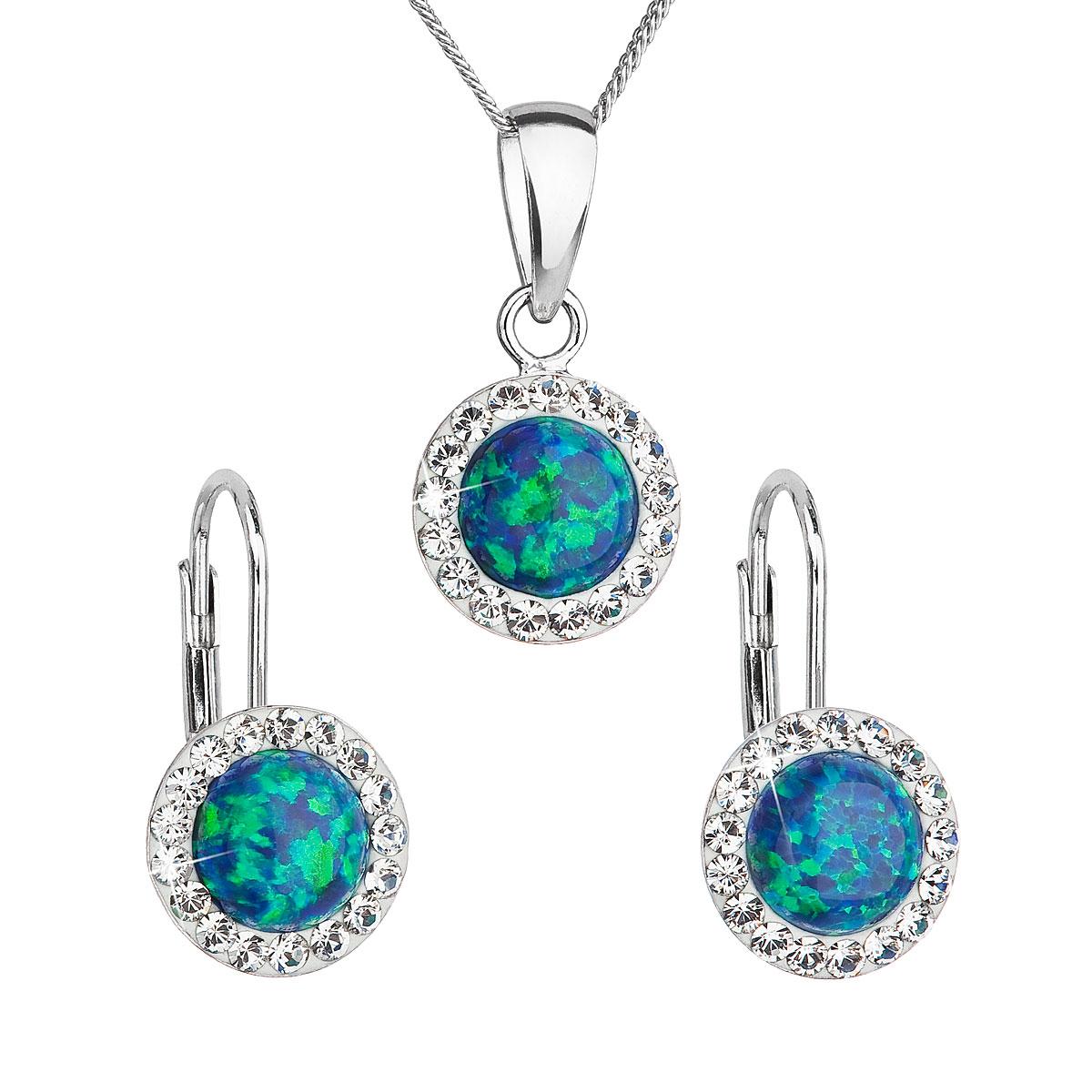 Sada šperků se syntetickým opálem a krystaly Swarovski náušnice a přívěšek zelené kulaté 39160.1