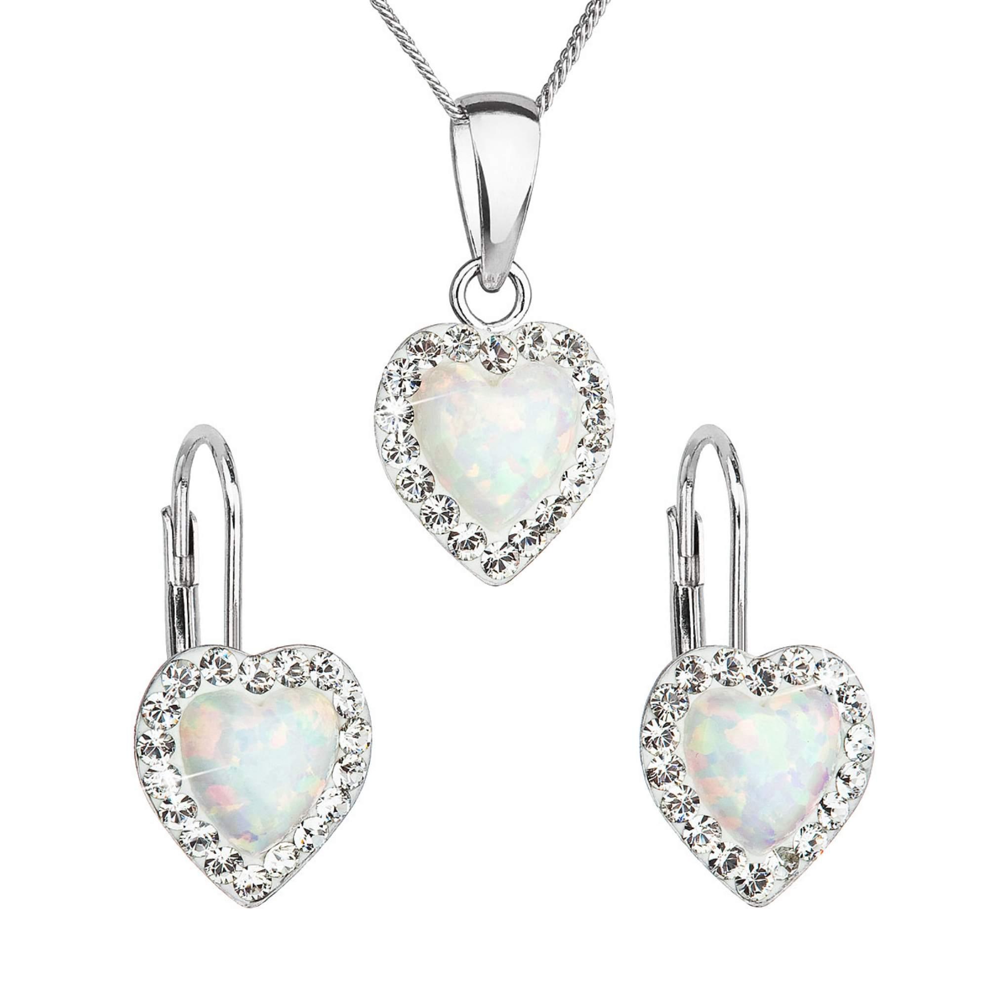 Sada šperků se syntetickým opálem a krystaly Swarovski náušnice a přívěšek bílé srdce 39161.1