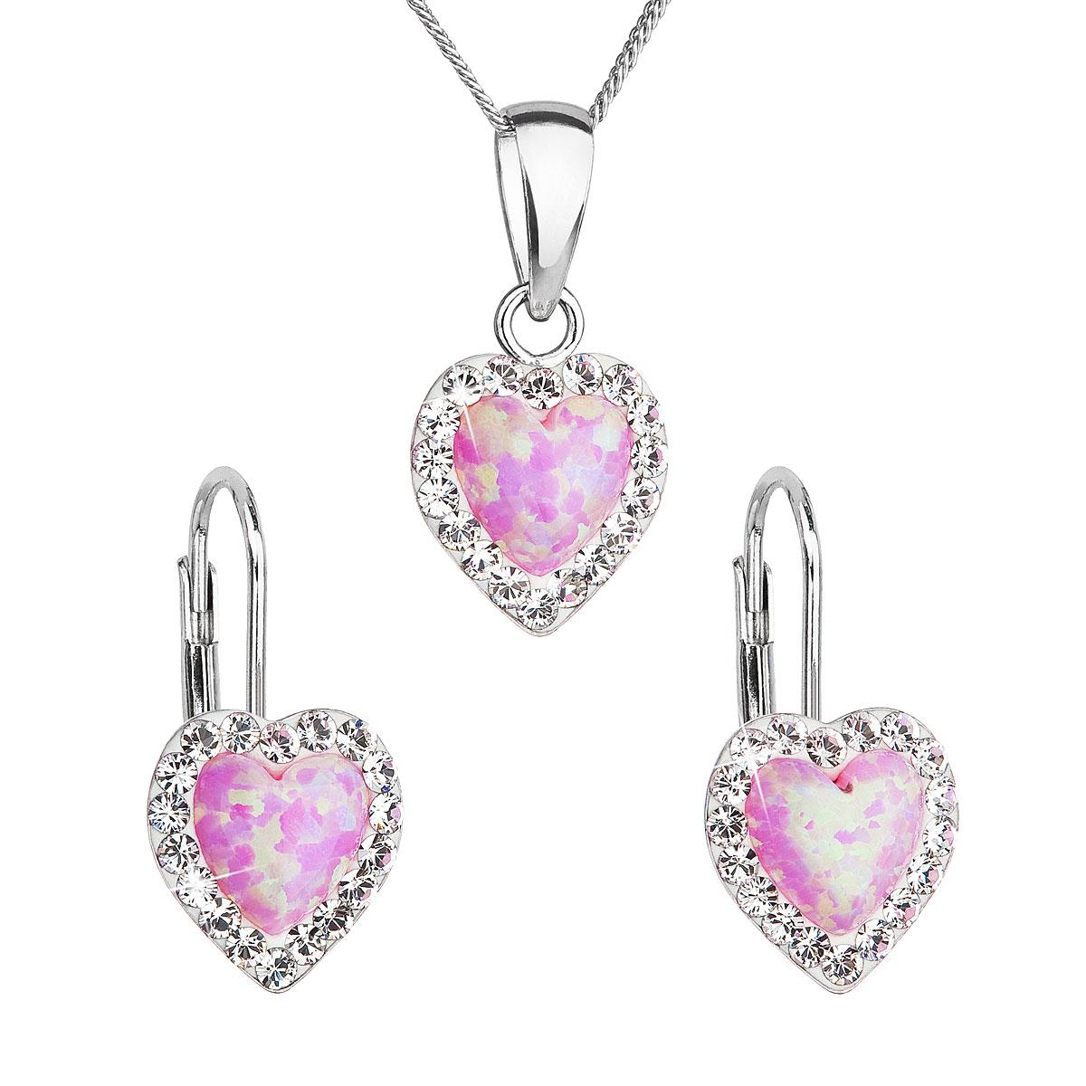 Sada šperků se syntetickým opálem a krystaly Swarovski náušnice a přívěšek světle růžové srdce 39161.1