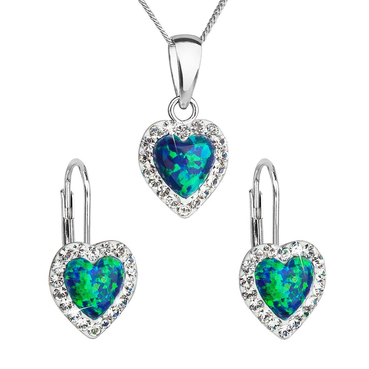 Sada šperků se syntetickým opálem a krystaly Swarovski náušnice a přívěšek  zelené srdce 39161.1 e1c9243ec59