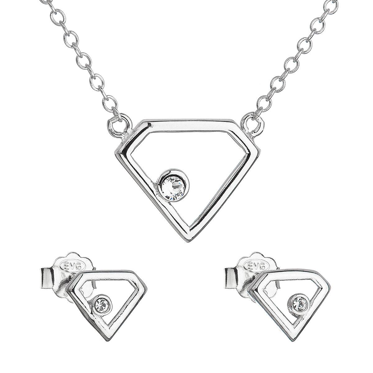 Sada šperků s krystaly Swarovski náušnice a náhrdelník bílý trojúhelník 39165.1
