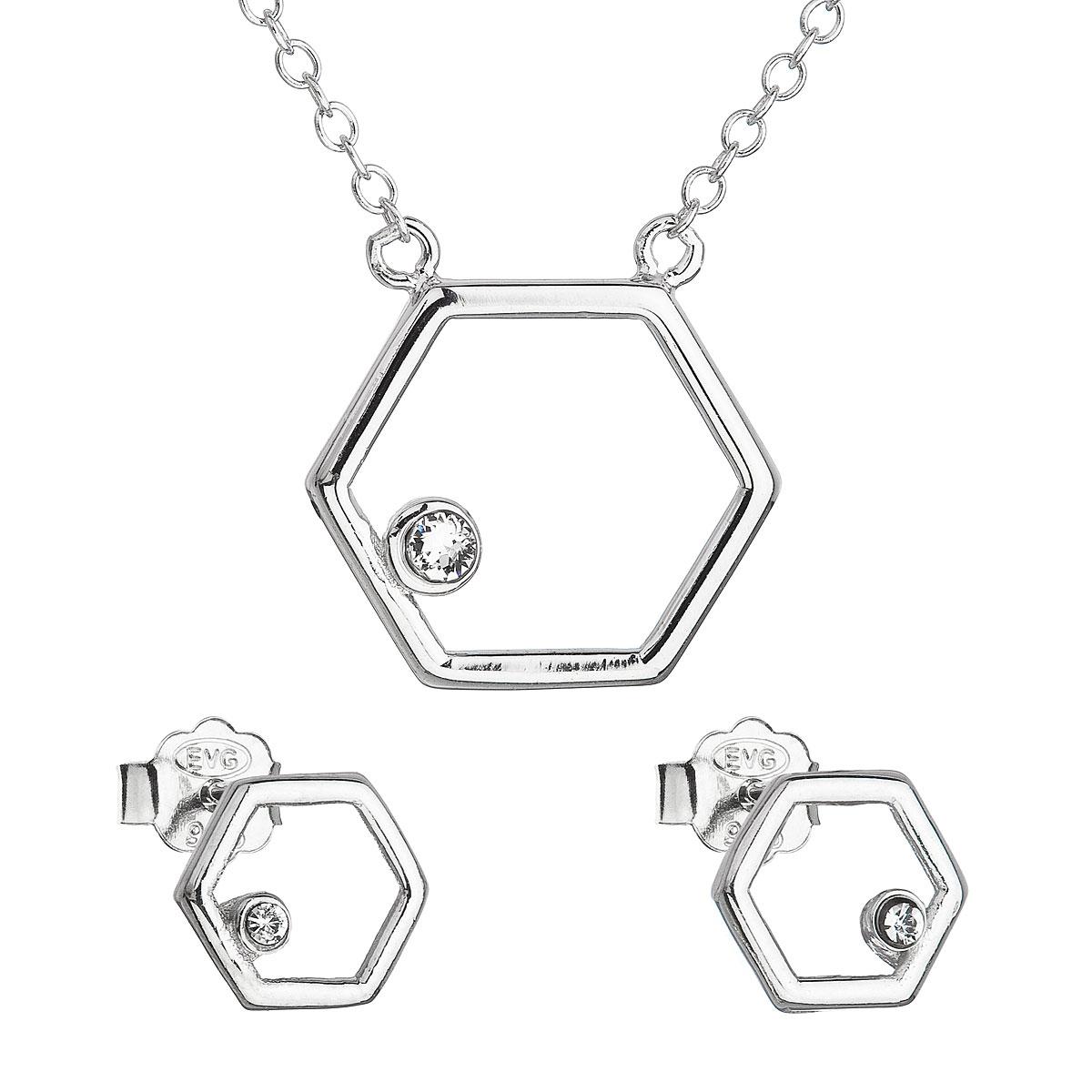 Sada šperků s krystaly Swarovski náušnice a náhrdelník bílý hexagon 39166.1