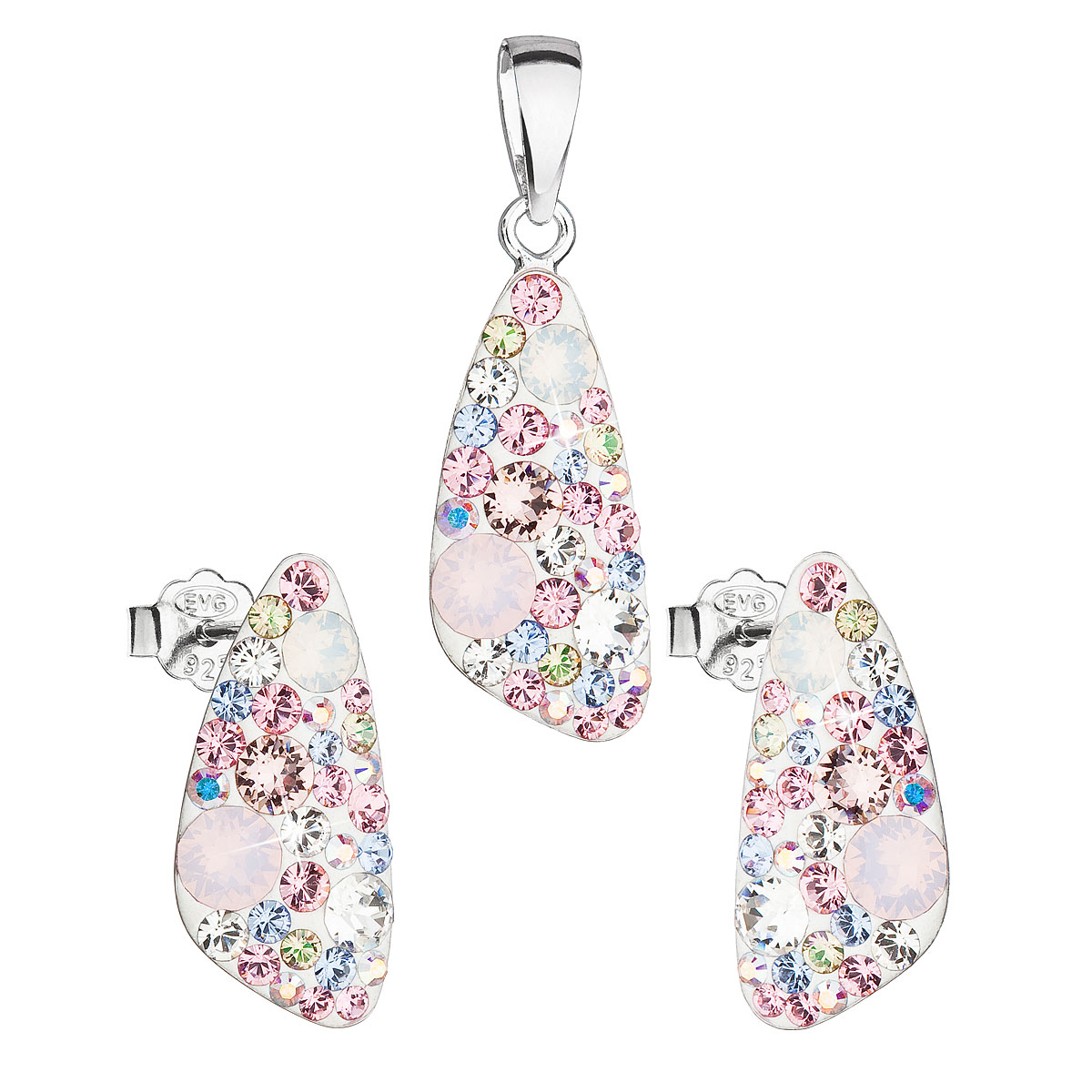 Evolution Group Sada šperků s krystaly Swarovski náušnice a přívěsek mix  barev růžový 39167.3 magic rose da1735d86b0
