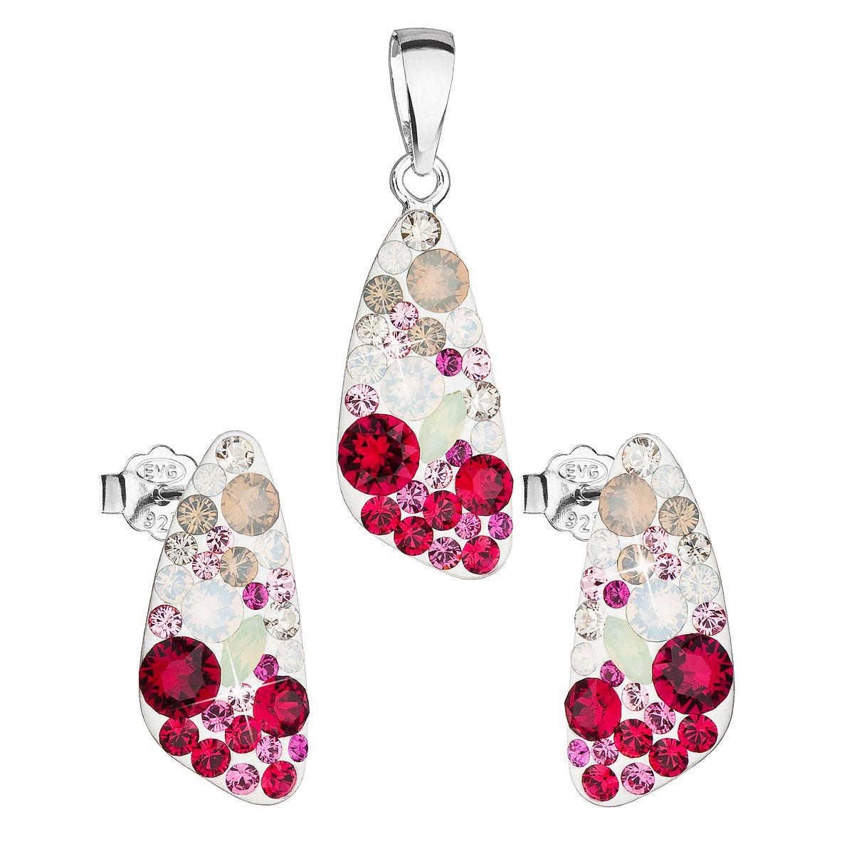 Evolution Group Sada šperků s krystaly Swarovski náušnice a přívěsek mix barev 39167.3 sweet love