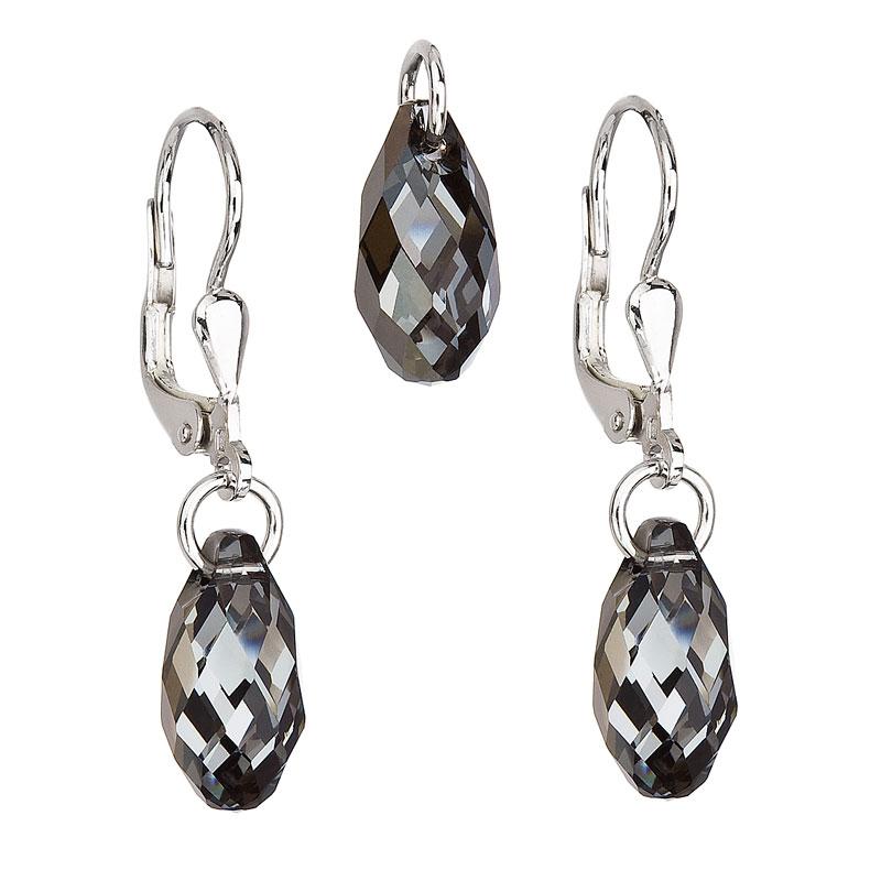 Sada šperků s krystaly Swarovski náušnice a přívěsek šedá slza 39089.5