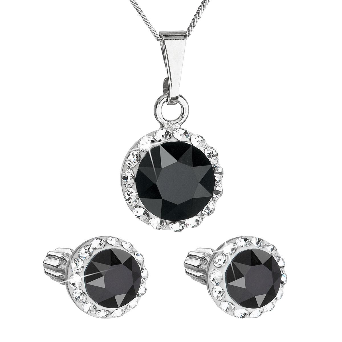 Sada šperků s krystaly Swarovski náušnice a přívěsek černé kulaté 39352.3
