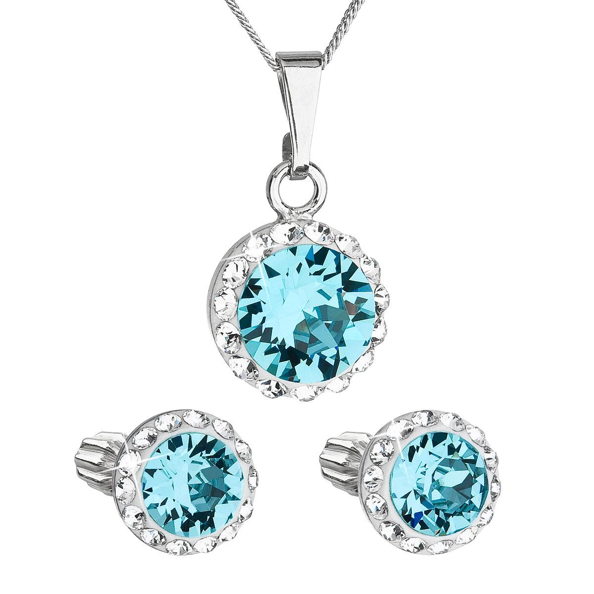 Sada šperků s krystaly Swarovski náušnice, řetízek a přívěsek modré kulaté 39352.3
