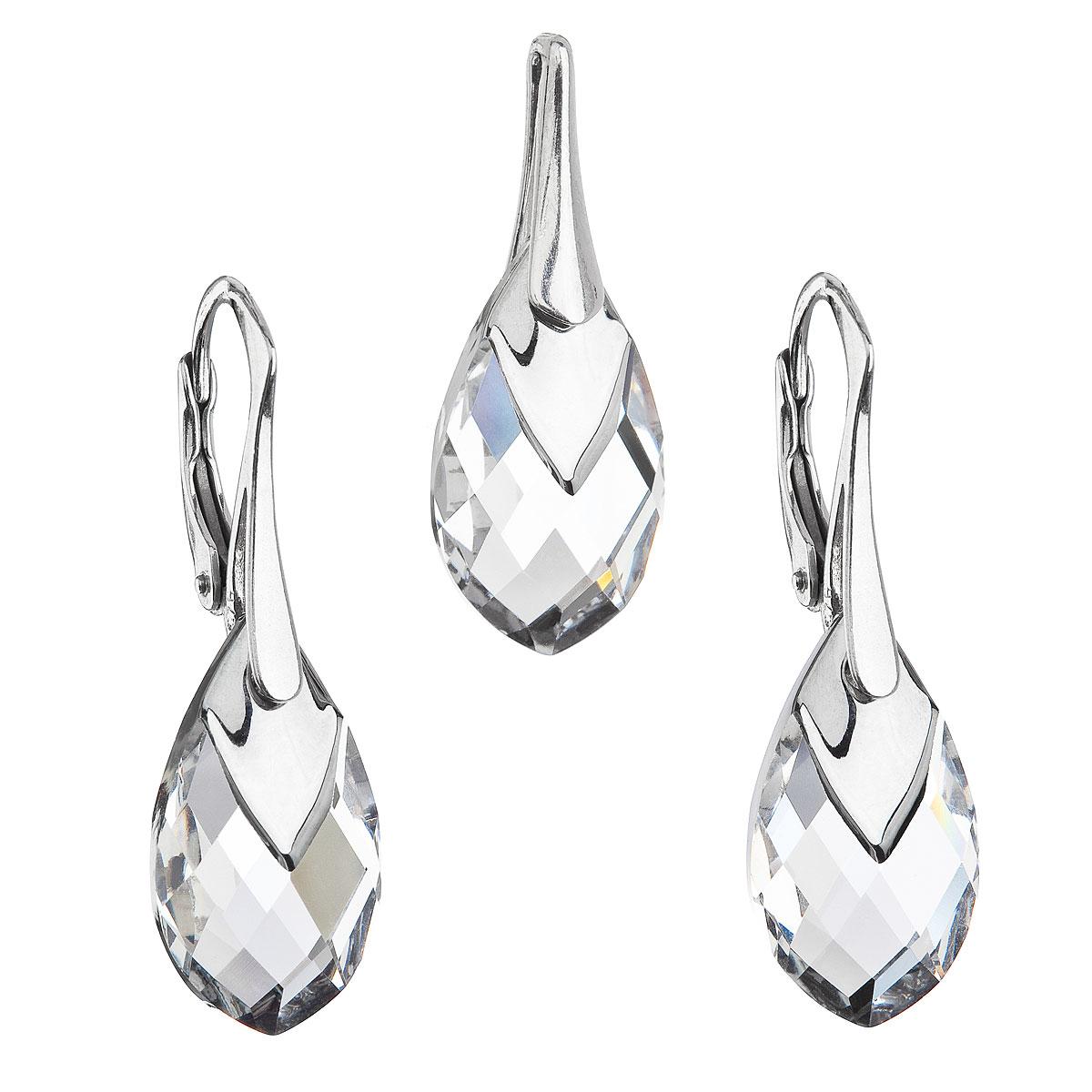 Evolution Group Sada šperků s krystaly Swarovski náušnice a přívěsek stříbrošedá slza 39169.4