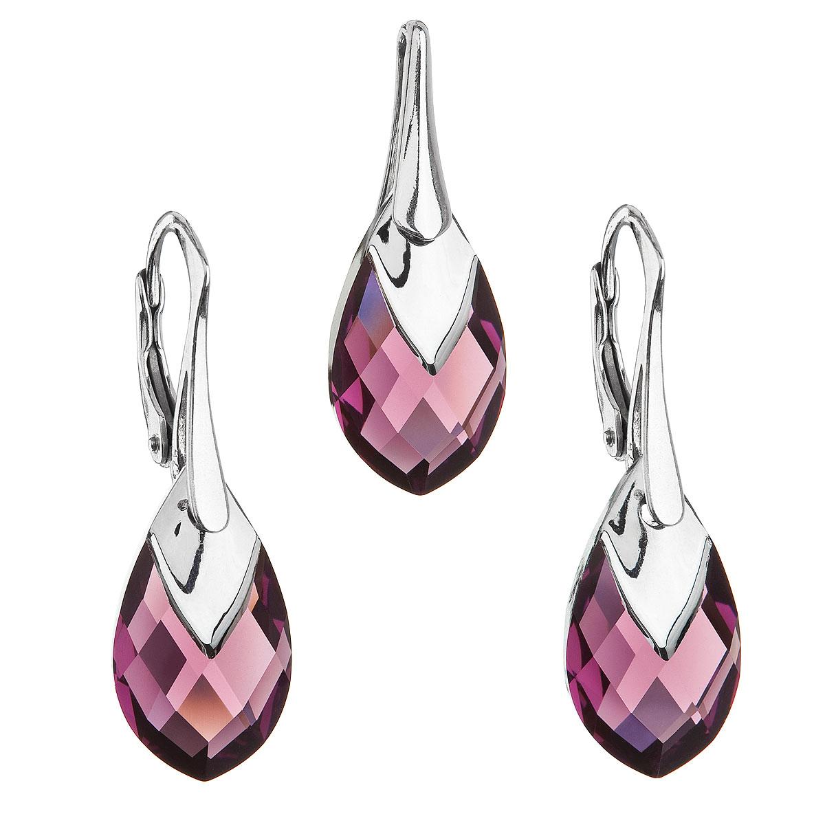 Evolution Group Sada šperků s krystaly Swarovski náušnice a přívěsek fialová slza 39169.4 amethyst