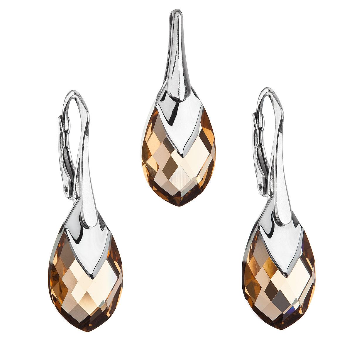 Sada šperků s krystaly Swarovski náušnice a přívěsek zlatá slza 39169.4