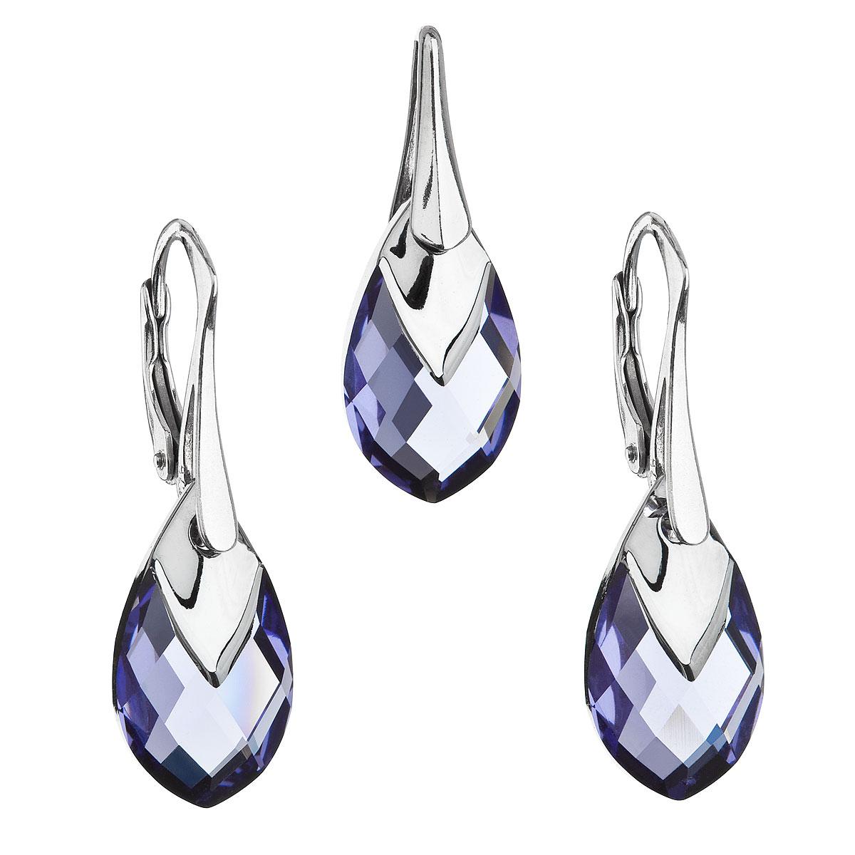 Sada šperků s krystaly Swarovski náušnice a přívěsek fialová slza 39169.4 tanzanite