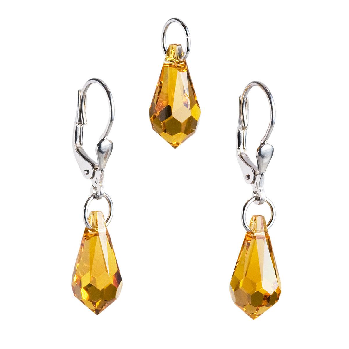 Sada šperků s krystaly Swarovski náušnice a přívěsek zlatá slza 39029.3