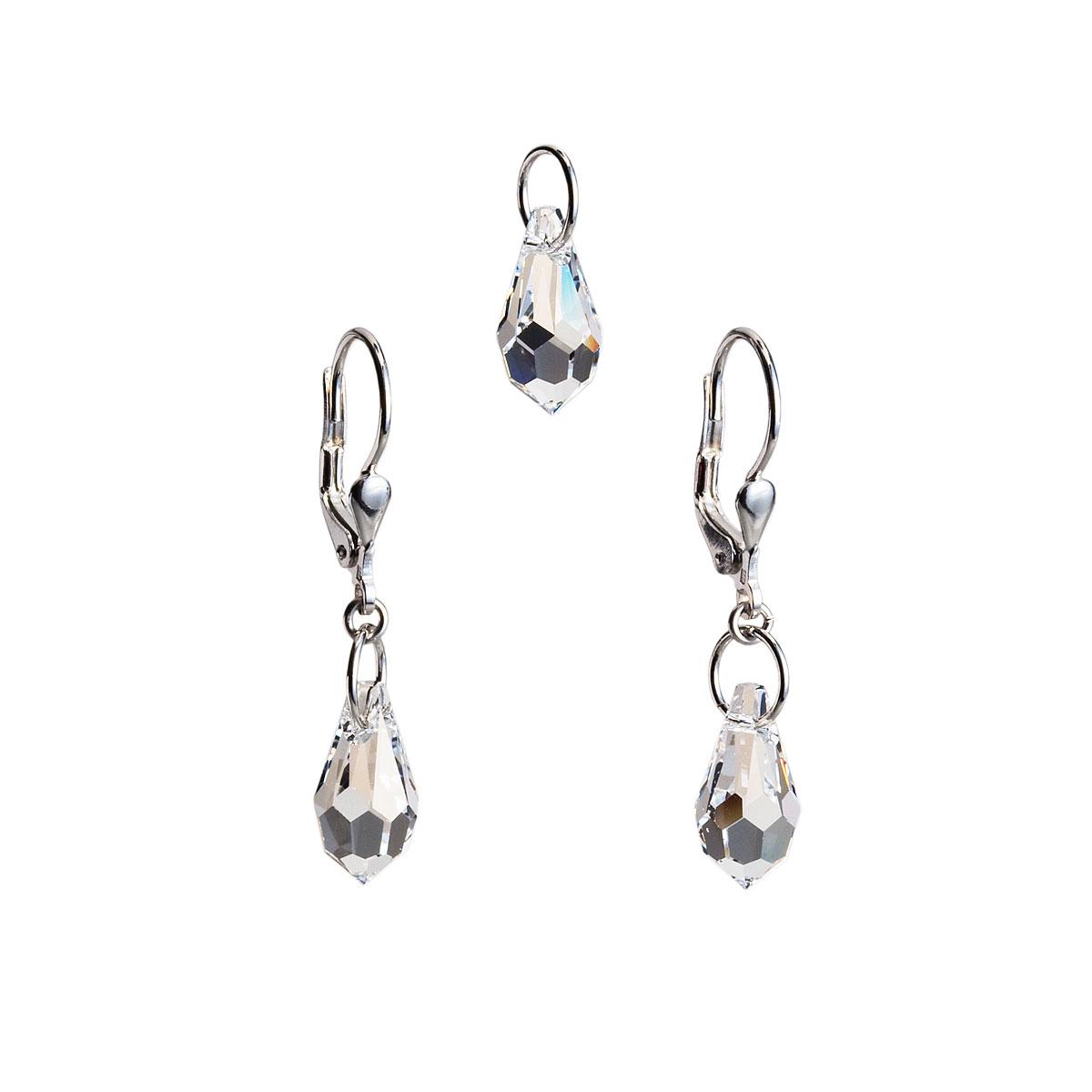 Evolution Group Sada šperků s krystaly Swarovski náušnice a přívěsek bílá slza 39029.1