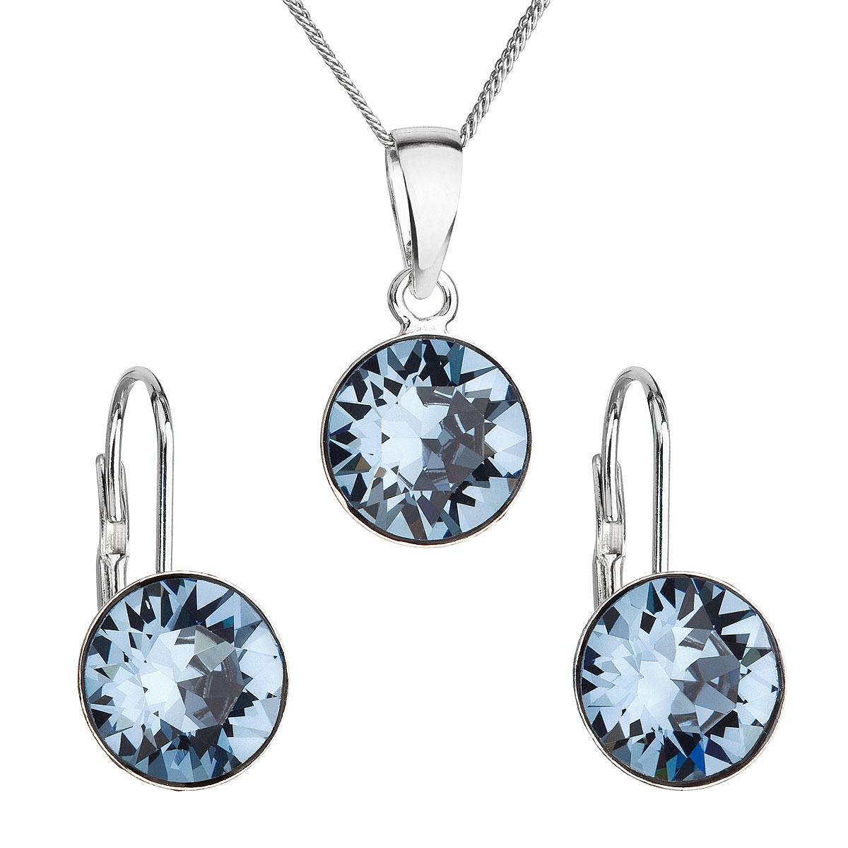 Sada šperků s krystaly Swarovski náušnice, řetízek a přívěsek modré kulaté 39140.3 denim blue