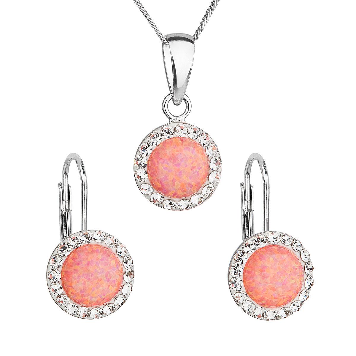 Sada šperků se syntetickým opálem a krystaly Swarovski náušnice a přívěsek oranžové kulaté 39160.1