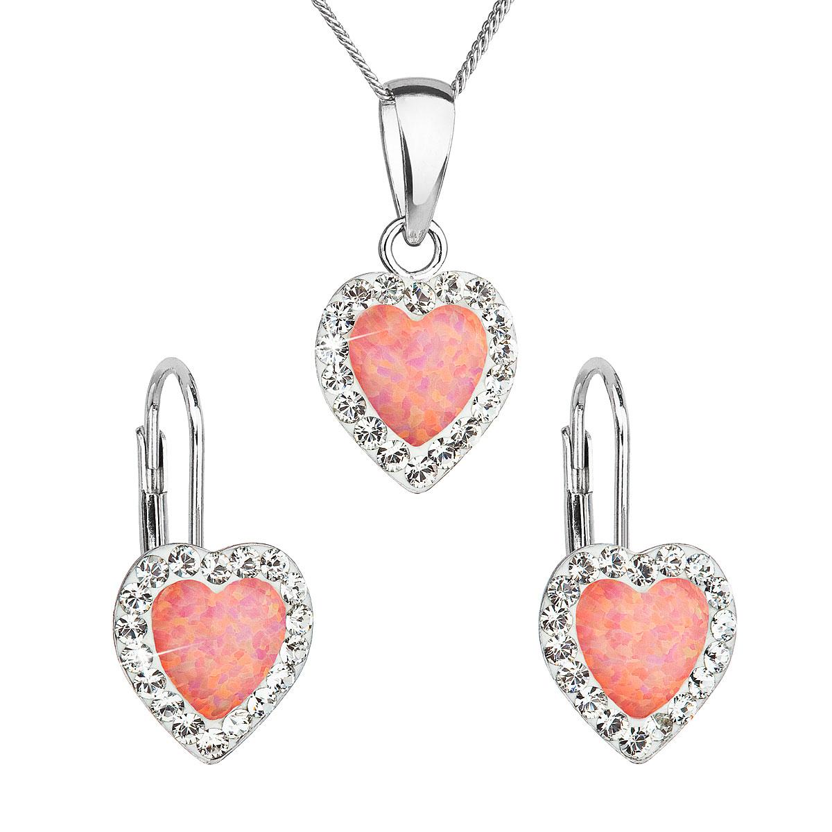 Sada šperků se syntetickým opálem a krystaly Swarovski náušnice a přívěšek oranžové srdce 39161.1