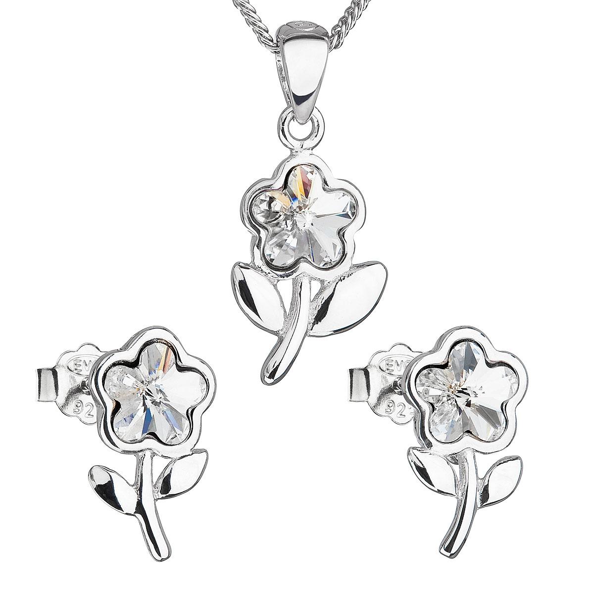Sada šperků s krystaly Swarovski náušnice,řetízek a přívěsek bílá kytička 39172.1