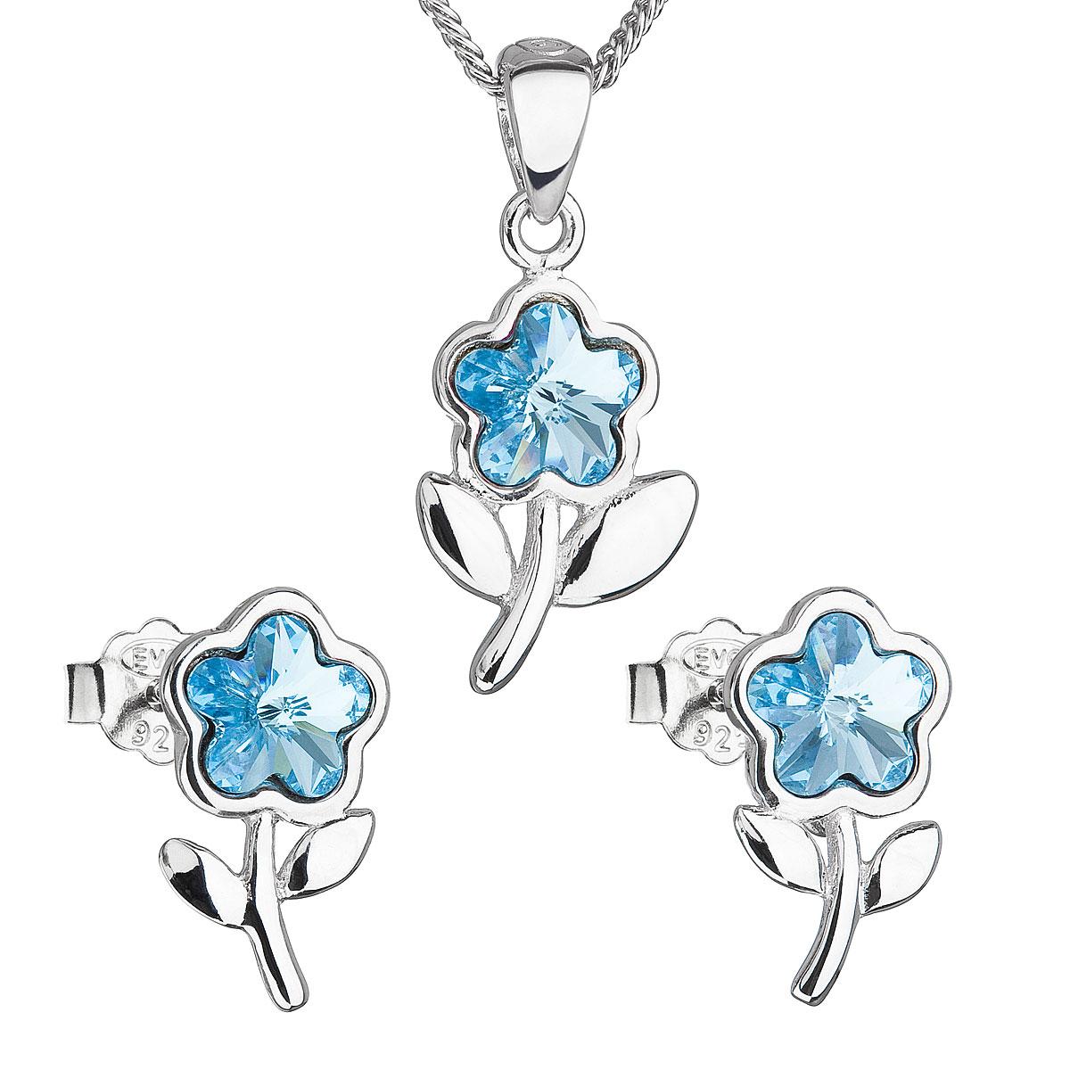 Sada šperků s krystaly Swarovski náušnice,řetízek a přívěsek modrá kytička 39172.3