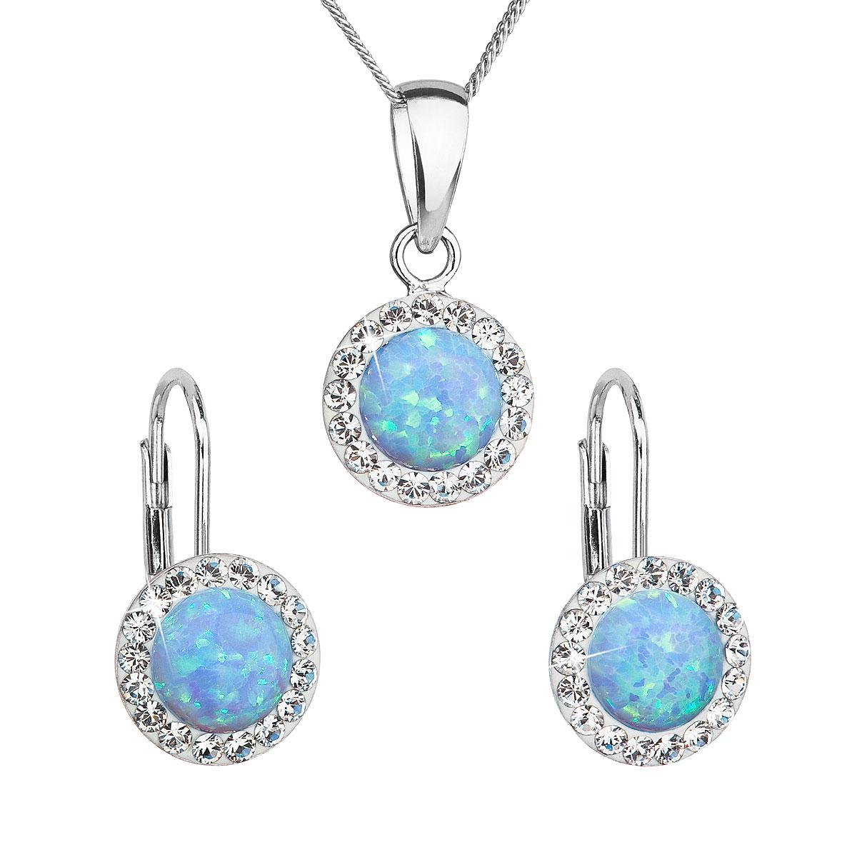 Evolution Group Sada šperků se syntetickým opálem a krystaly Swarovski náušnice a přívěšek světle modré kulaté 39160.1