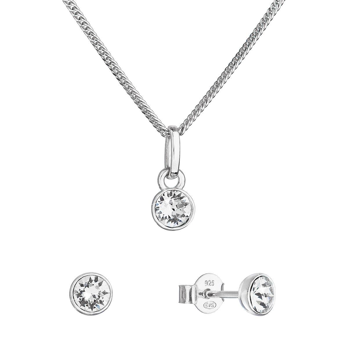 Evolution Group Sada šperků s krystaly Swarovski náušnice, řetízek a přívěsek kulaté 39177.1