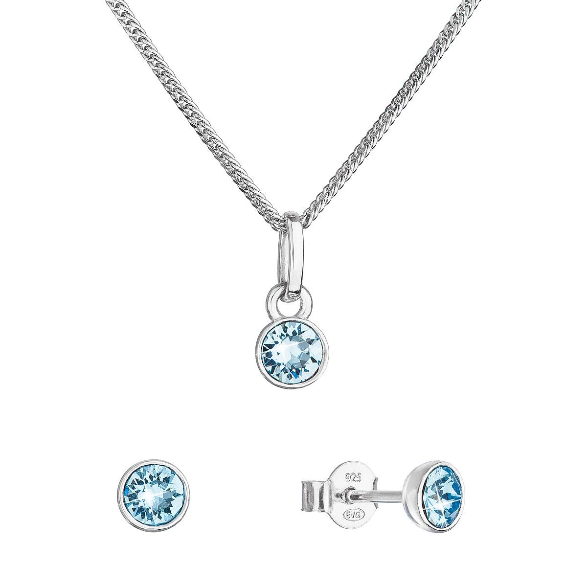 Evolution Group Sada šperků s krystaly Swarovski náušnice, řetízek a přívěsek modré 39177.3 aqua