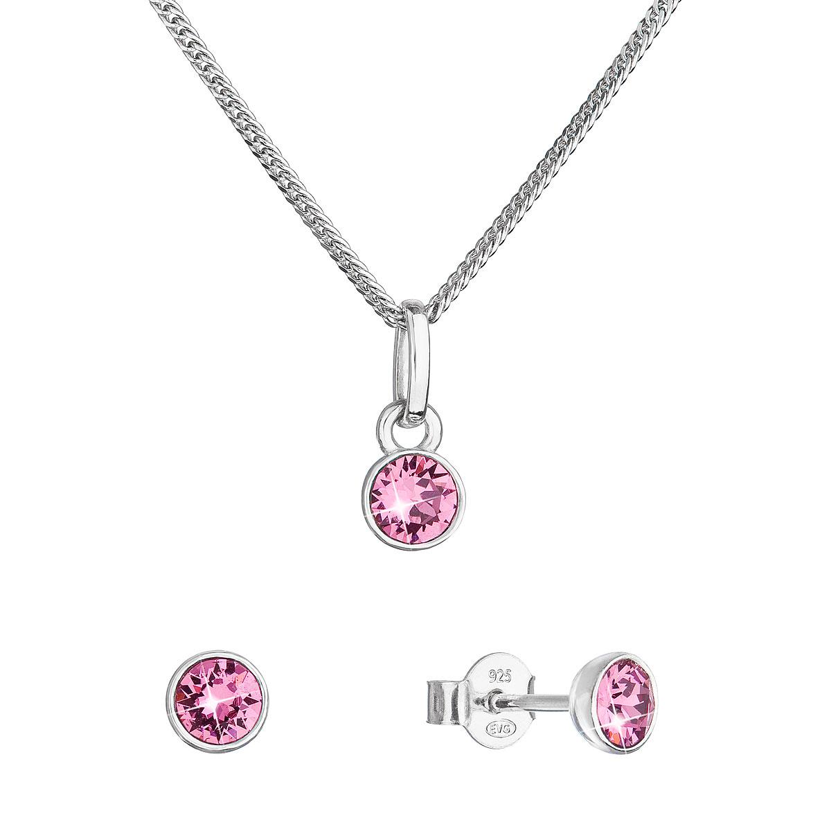 Evolution Group Sada šperků s krystaly Swarovski náušnice, řetízek a přívěsek růžové 39177.3 rose