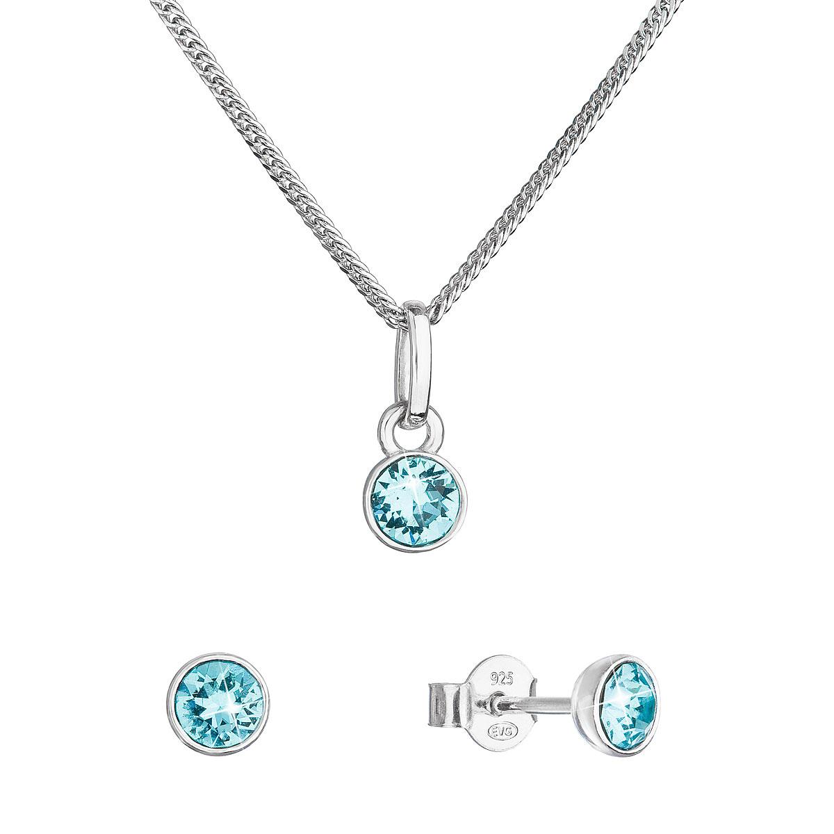 Evolution Group Sada šperků s krystaly Swarovski náušnice, řetízek a přívěsek modré 39177.3 lt. turquoise
