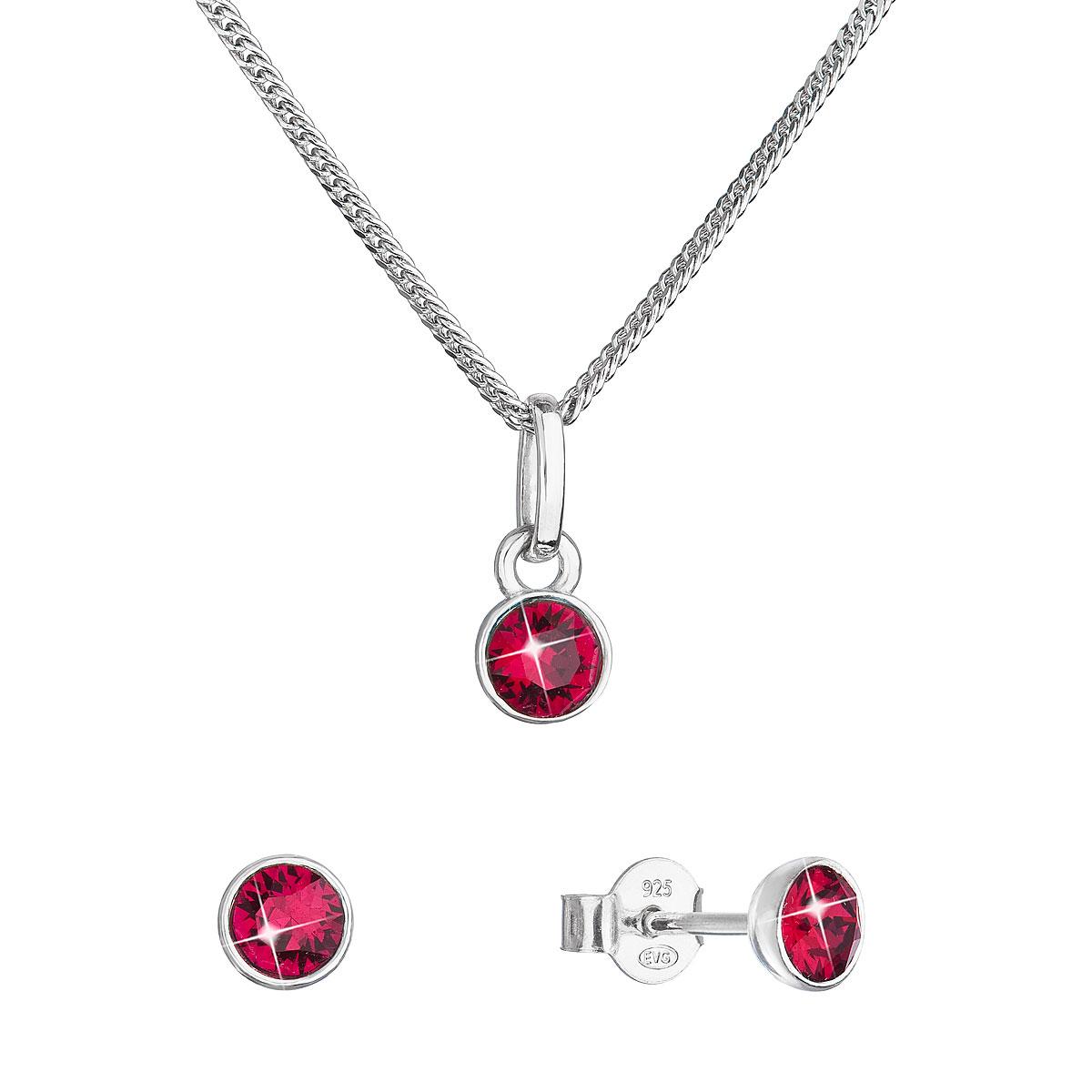Evolution Group Sada šperků s krystaly Swarovski náušnice, řetízek a přívěsek červené 39177.3 ruby