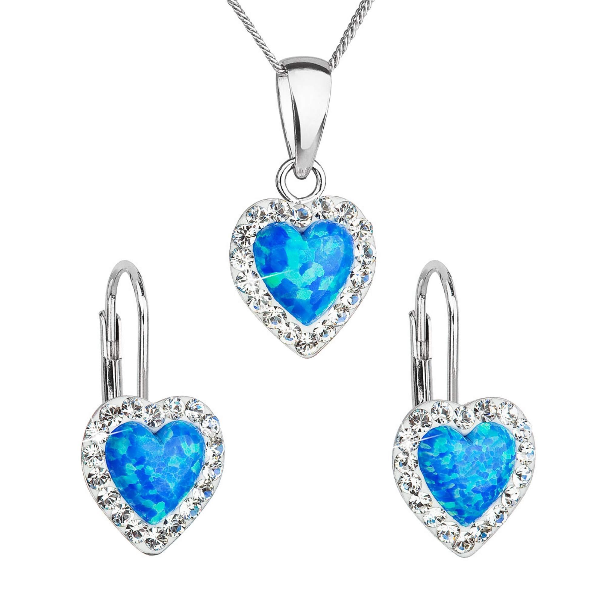 Evolution Group Sada šperků se syntetickým opálem a krystaly Preciosa náušnice a přívěšek modré srdce 39161.1