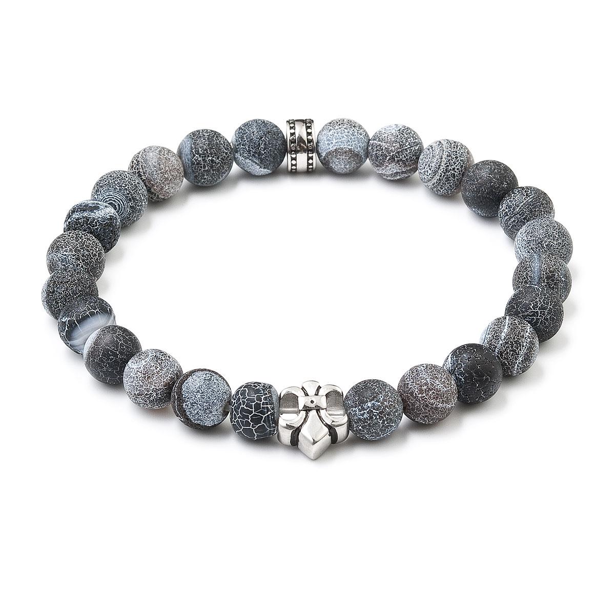 Korálkový náramek šedý matný onyx 43008.3