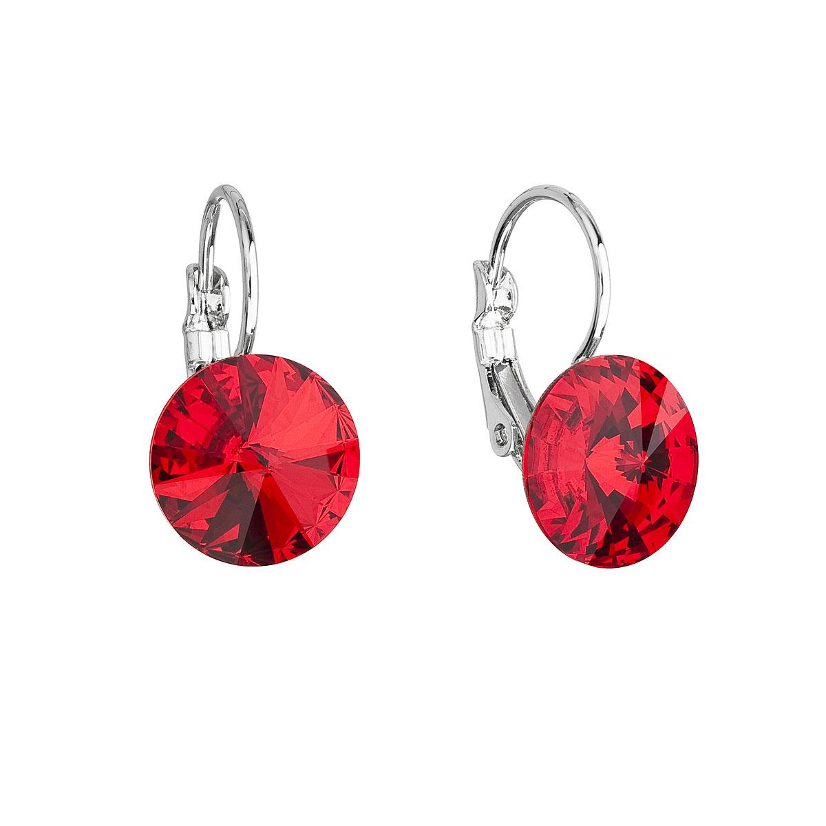 Evolution Group Náušnice se Swarovski krystaly červené kulaté 51002.3