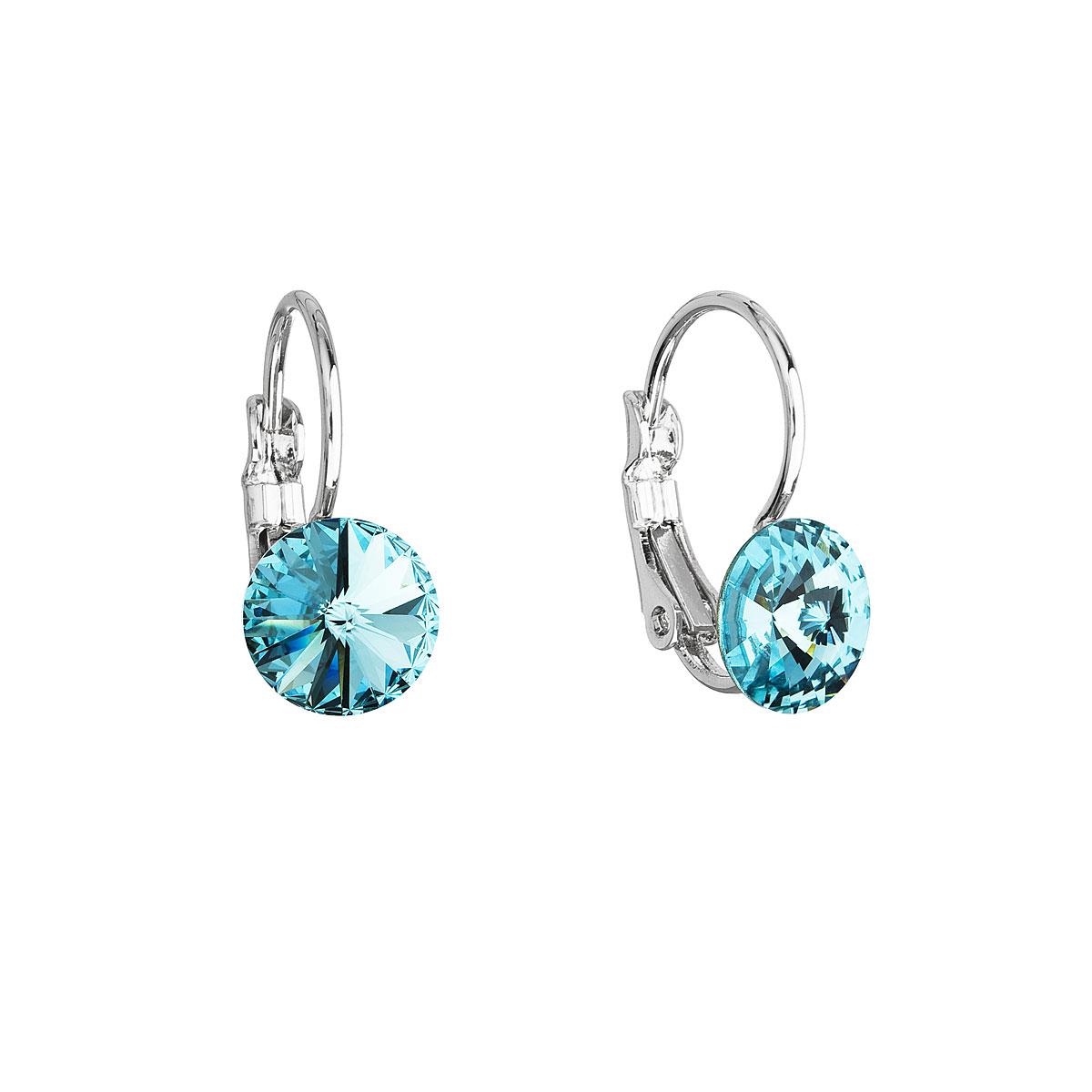 Náušnice bižuterie se Swarovski krystaly modré kulaté 51031.3 turquoise