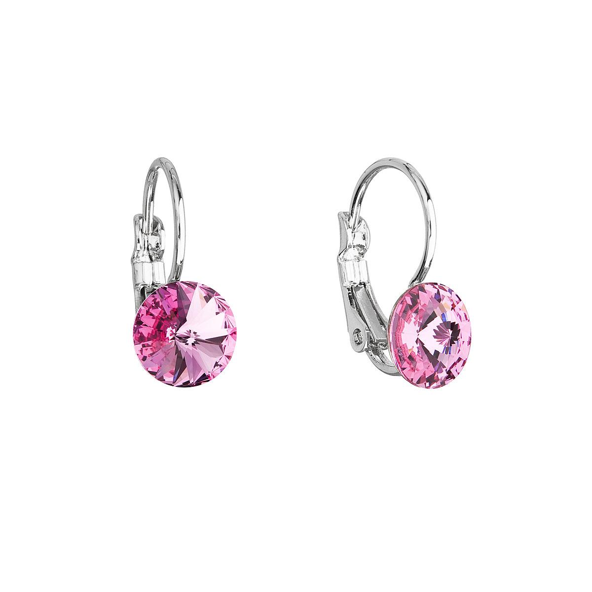 Náušnice bižuterie se Swarovski krystaly růžové kulaté 51031.3 rose