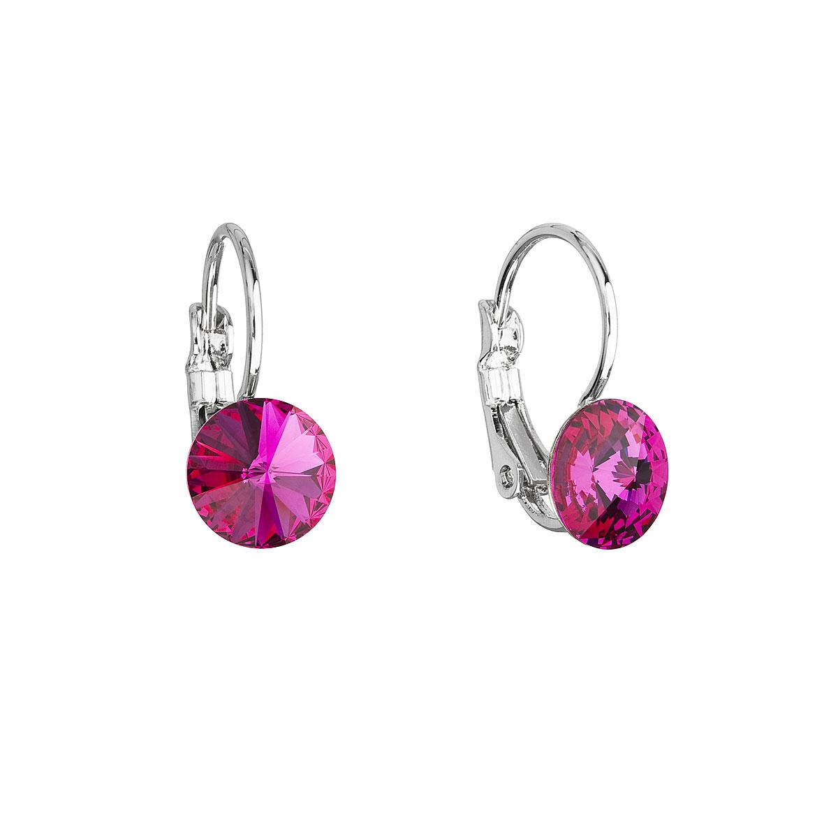 Náušnice bižuterie se Swarovski krystaly růžové kulaté 51031.3 fuchsia