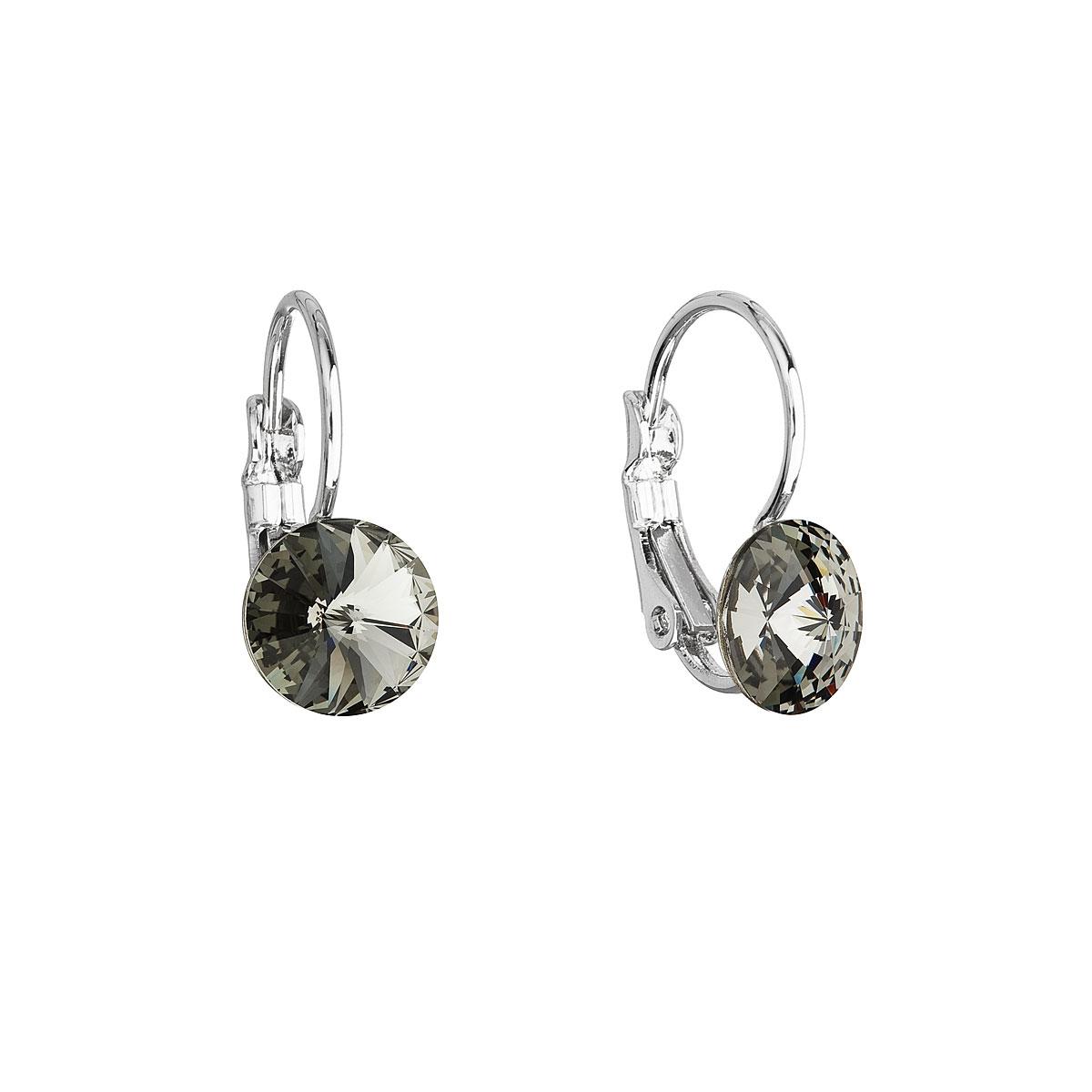 Náušnice bižuterie se Swarovski krystaly šedé kulaté 51031.3