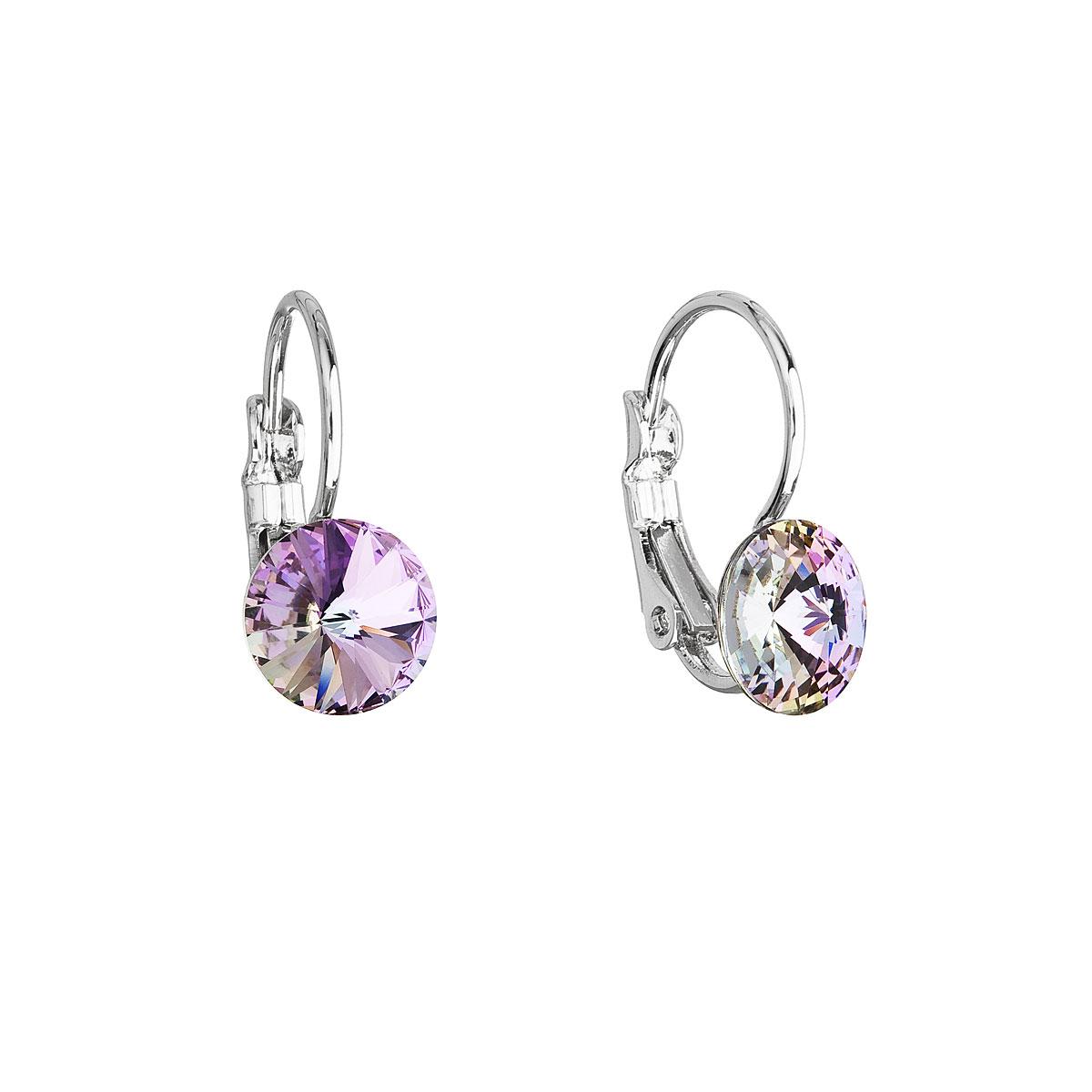 Náušnice bižuterie se Swarovski krystaly fialové kulaté 51031.5