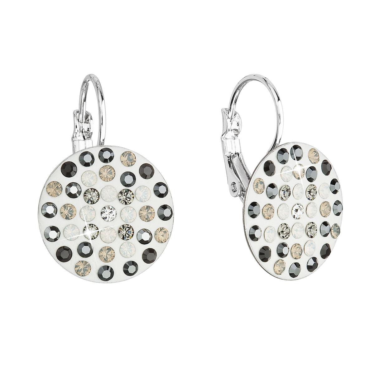 Náušnice bižuterie se Swarovski krystaly šedé kulaté 51033.3