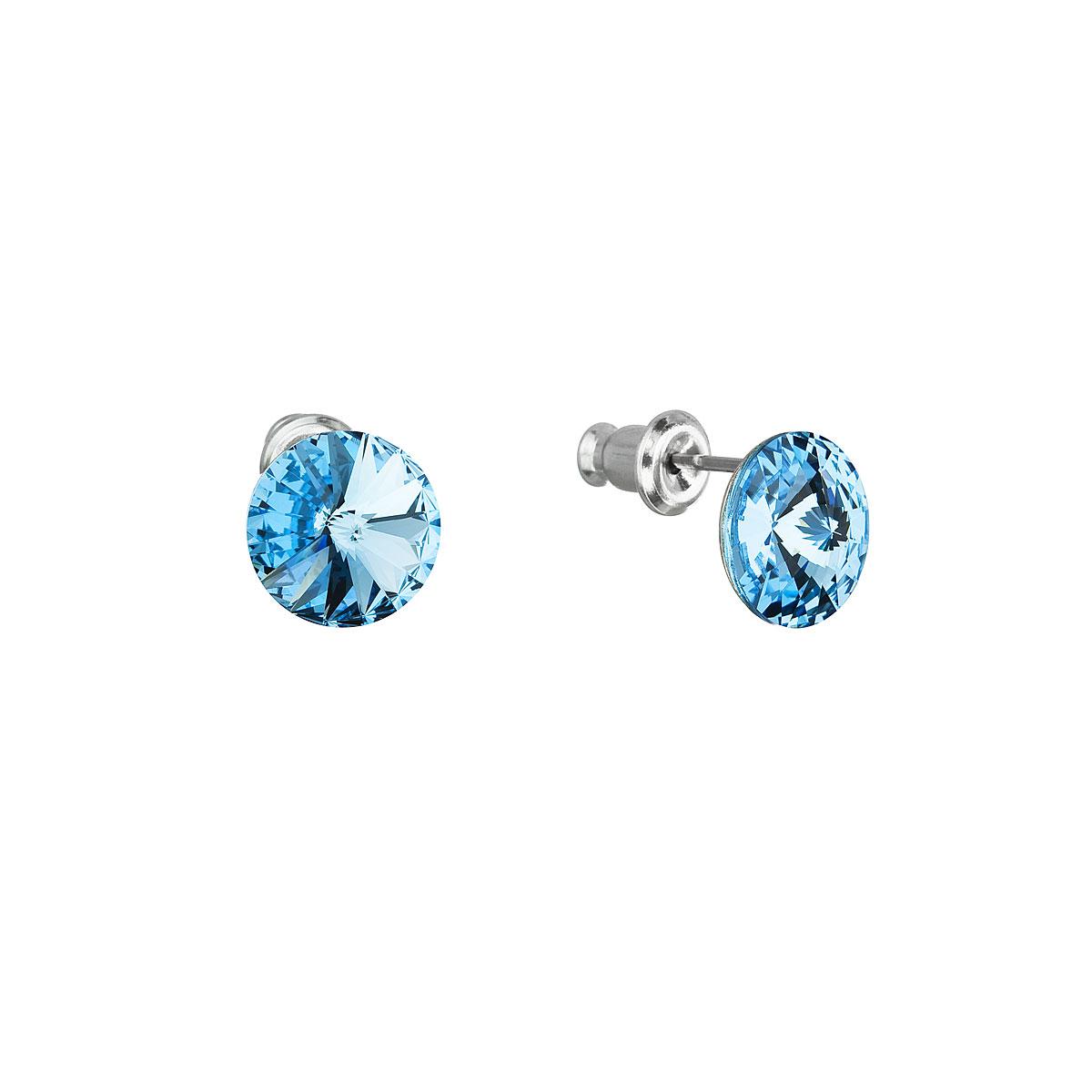 Evolution Group Náušnice se Swarovski krystaly modré kulaté 51037.3 aqua