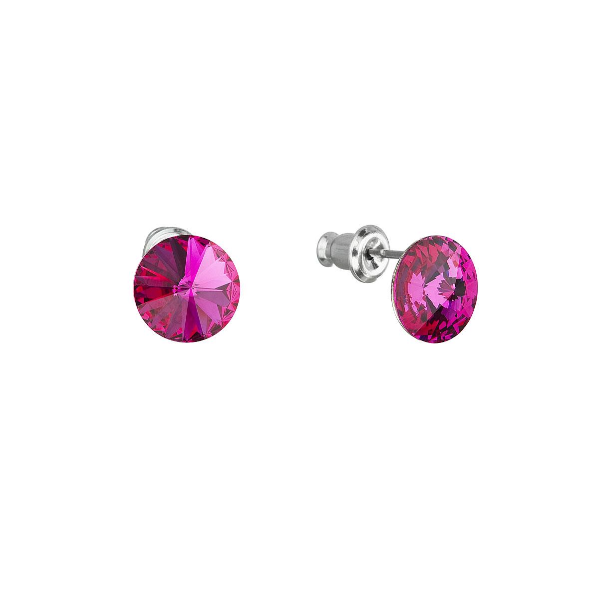 Evolution Group Náušnice se Swarovski krystaly růžové kulaté 51037.3 fuchsia
