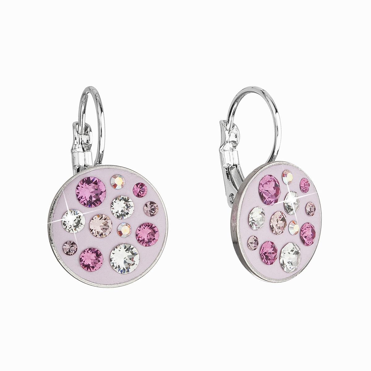 Náušnice bižuterie se Swarovski krystaly růžové kulaté 51038.3