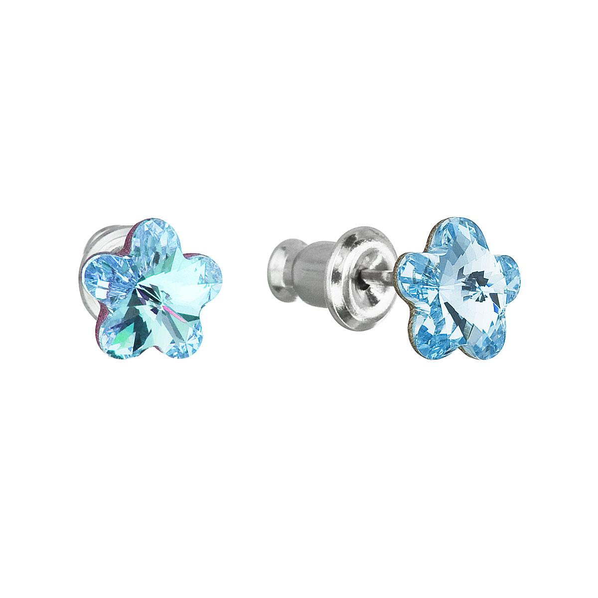 Náušnice bižuterie se Swarovski krystaly modrá kytička 51051.3