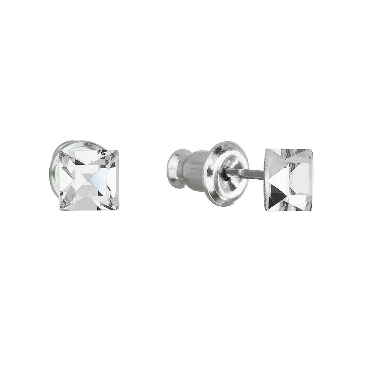 Evolution Group Náušnice bižuterie se Swarovski krystaly bílá čtverec 51052.1