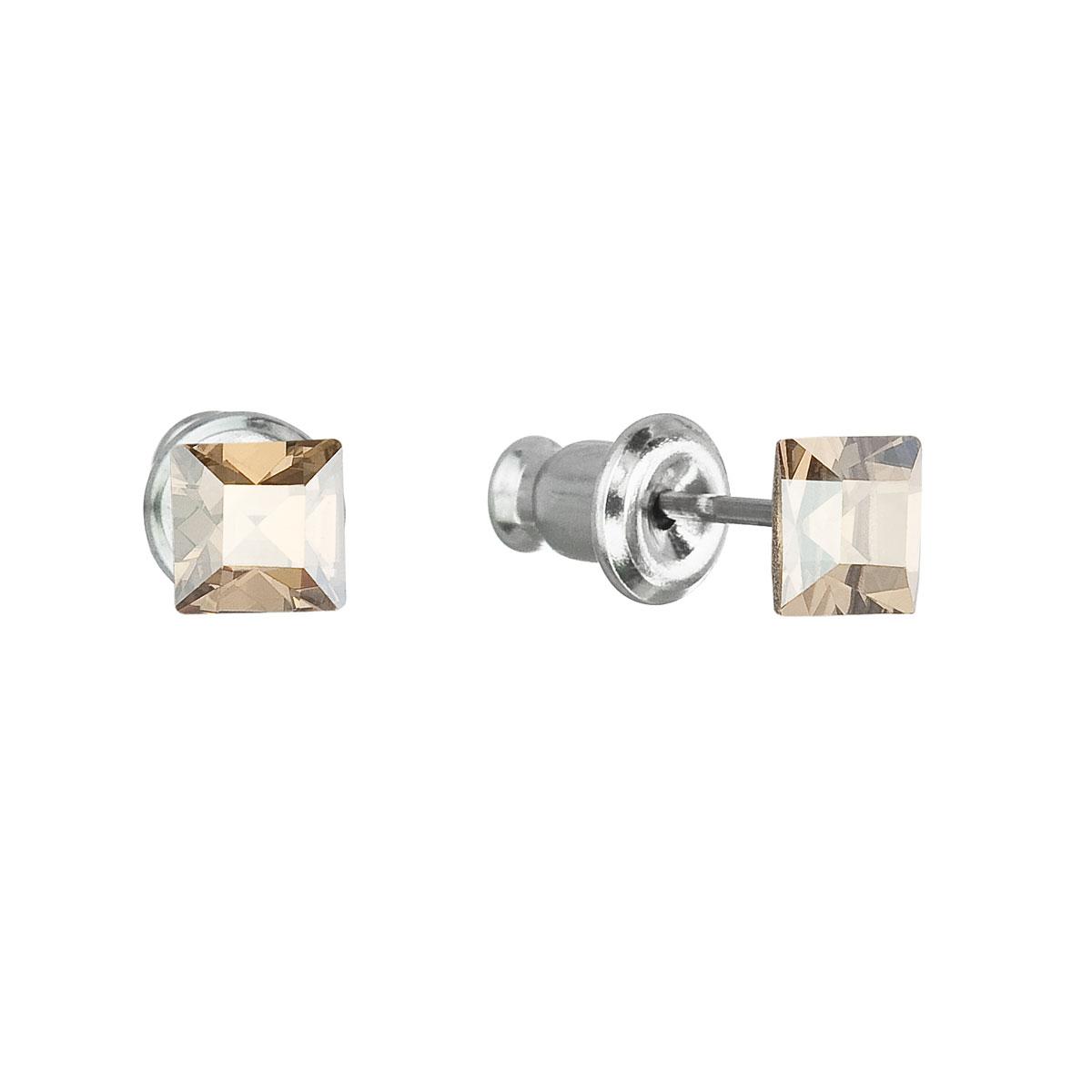 Evolution Group Náušnice se Swarovski krystaly zlatá čtverec 51052.5