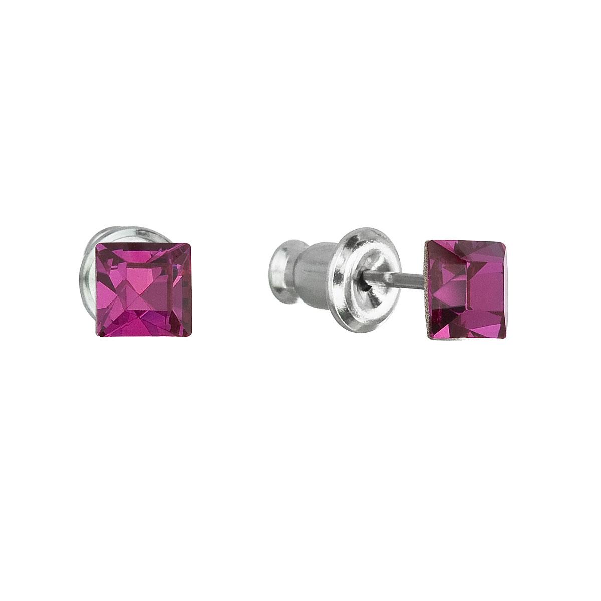 Evolution Group Náušnice se Swarovski krystaly růžová čtverec 51052.3 fuchsia