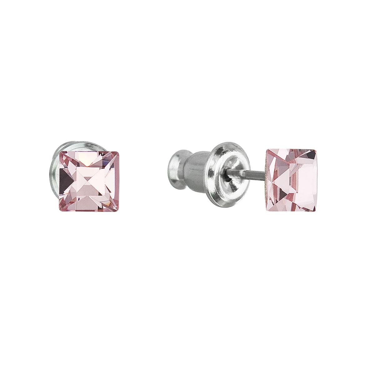 Evolution Group Náušnice se Swarovski krystaly růžová čtverec 51052.3 light rose