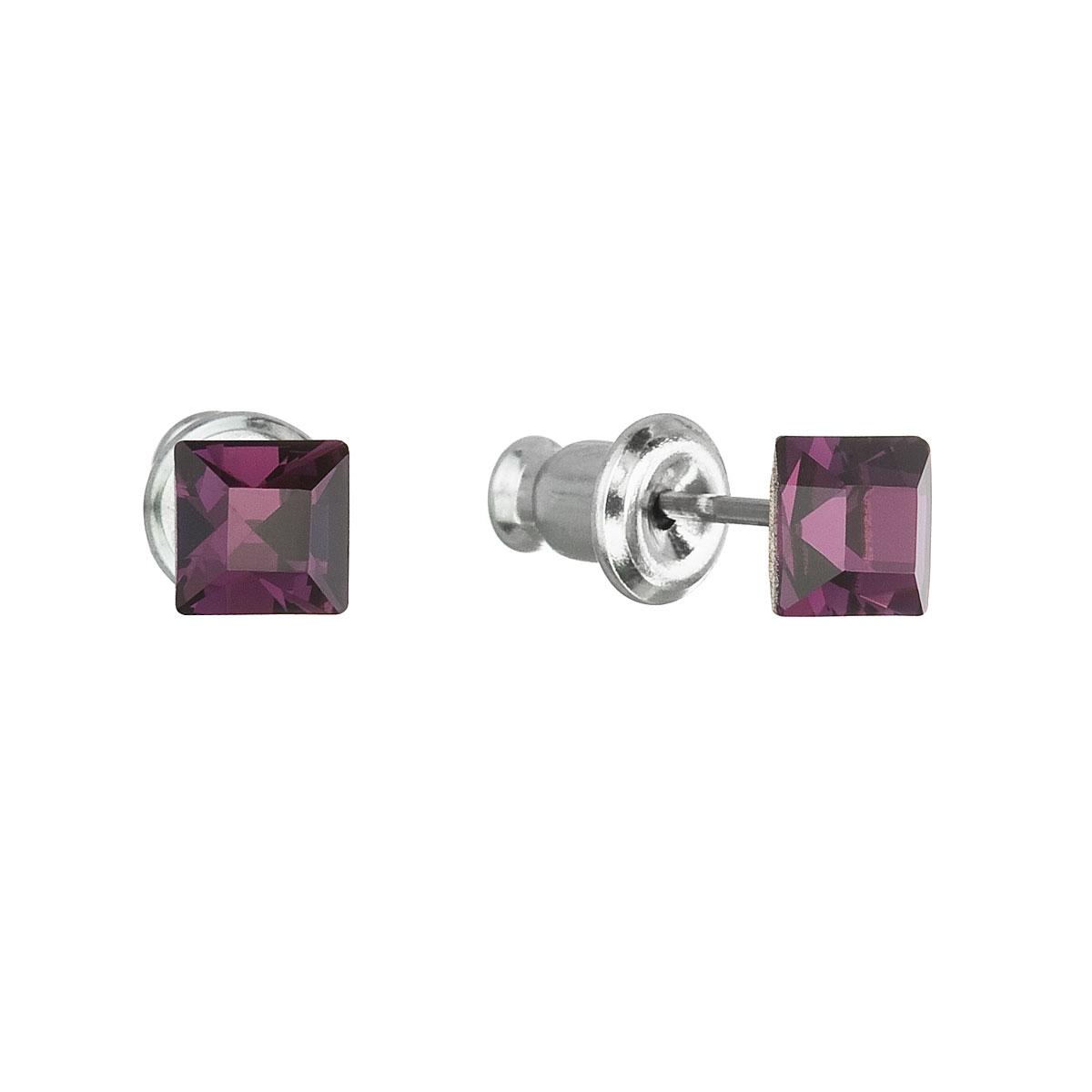 Evolution Group Náušnice se Swarovski krystaly fialová čtverec 51052.3 amethyst
