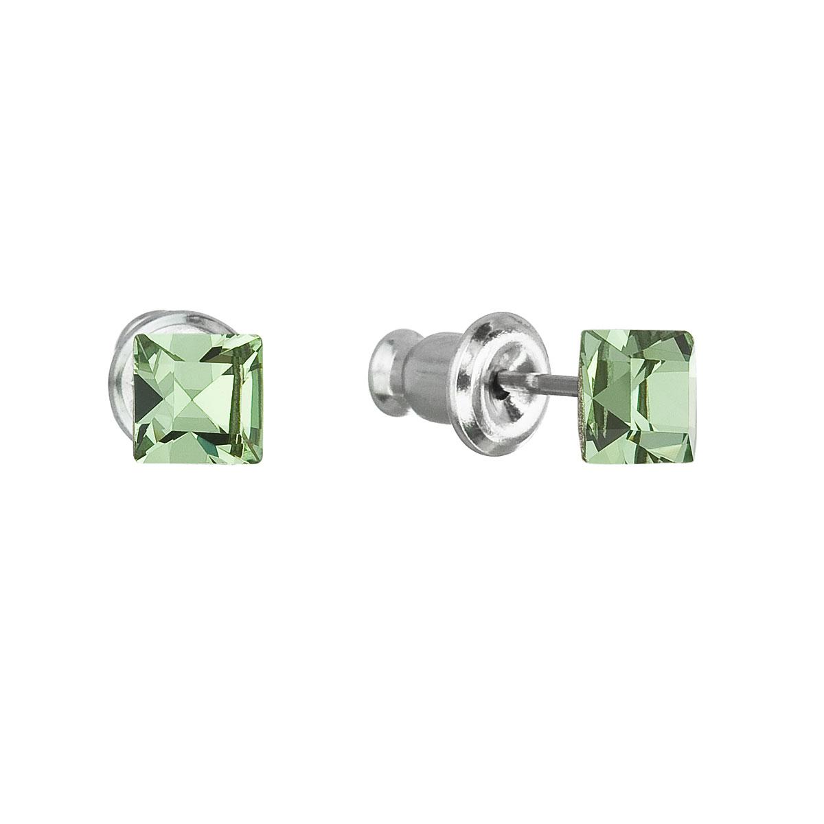 Evolution Group Náušnice se Swarovski krystaly zelená čtverec 51052.3