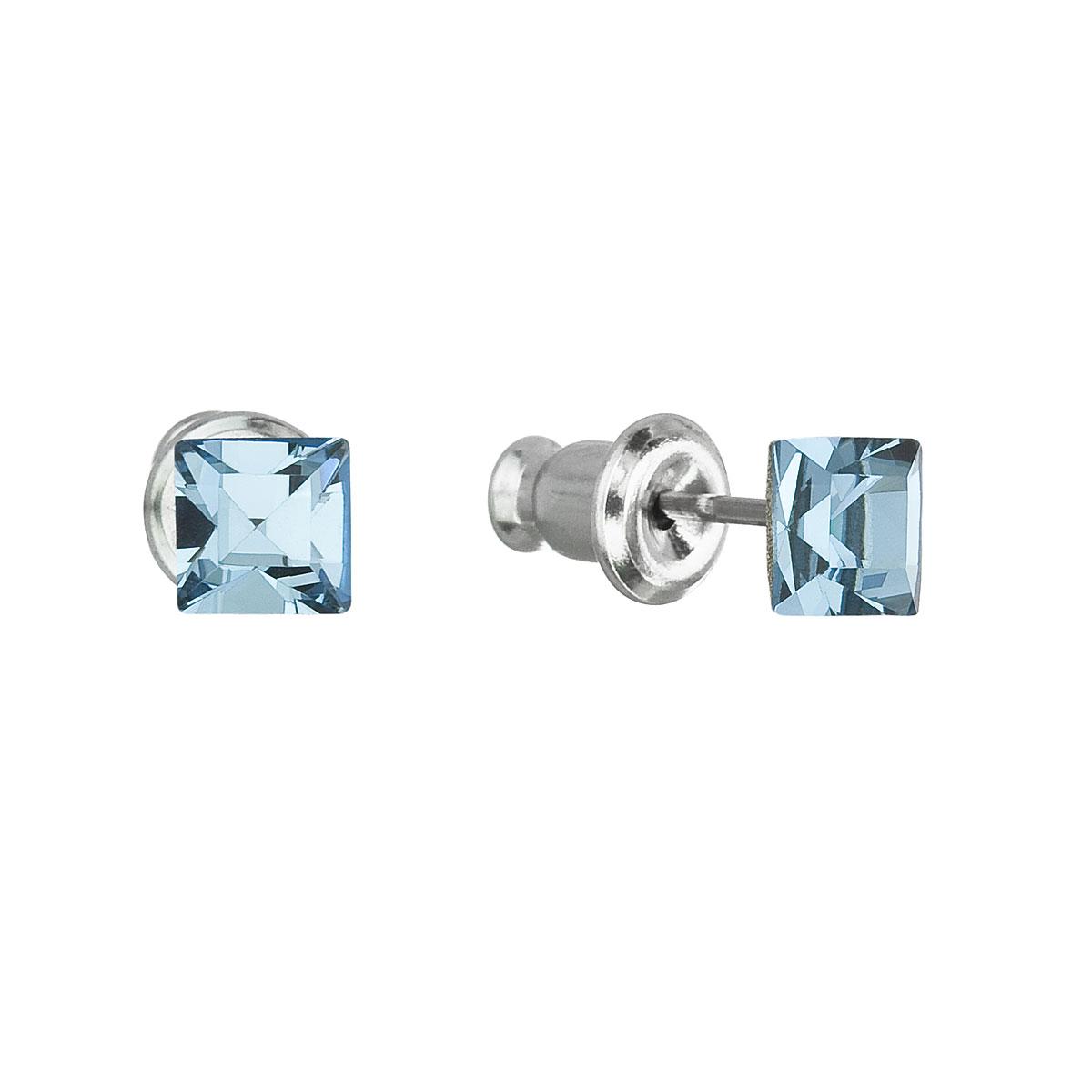 Evolution Group Náušnice se Swarovski krystaly modrá čtverec 51052.3