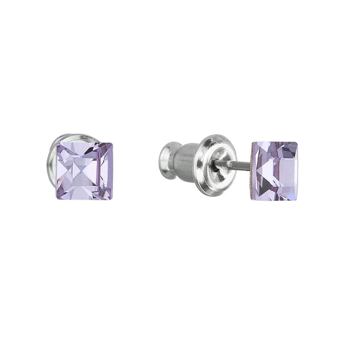 Evolution Group Náušnice se Swarovski krystaly fialová čtverec 51052.3 violet