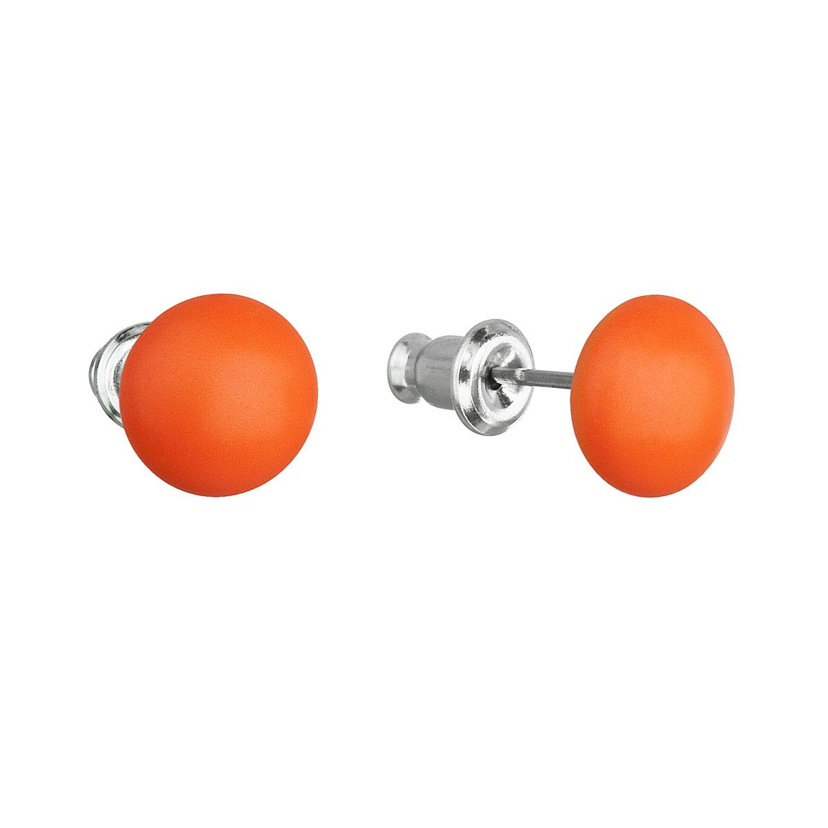 Evolution Group Náušnice bižuterie se Swarovski krystaly oranžové kulaté 51053.3